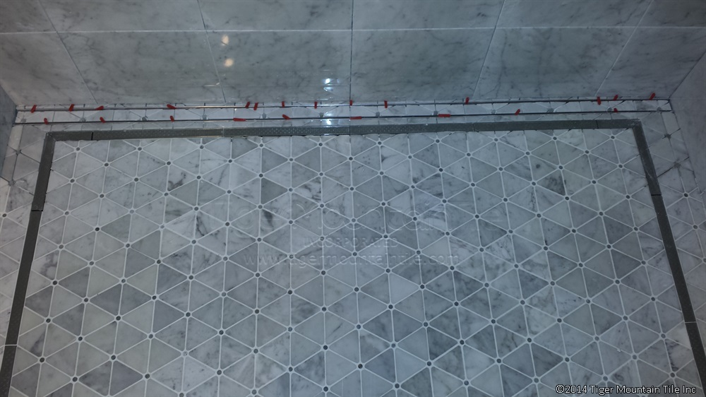 Tile-in linear drain in progress