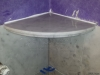 Carrara marble corner shelf installed