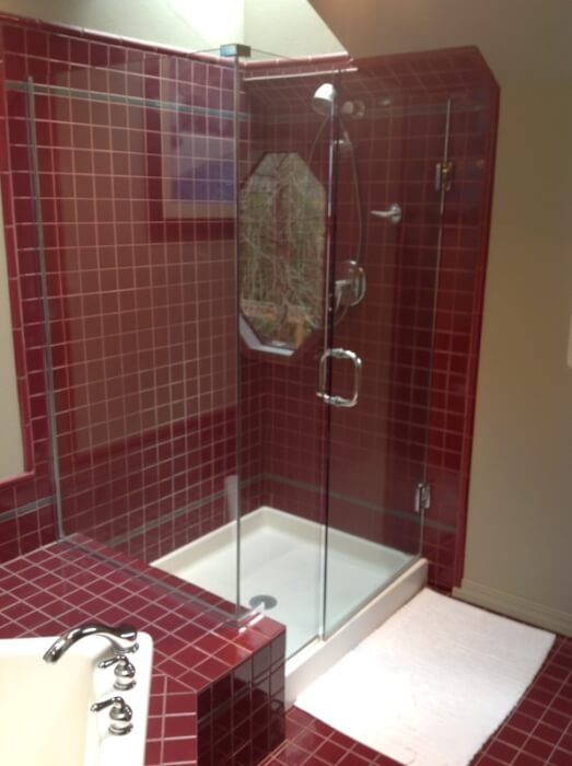 Small bathrooms with corner shower - Issaquah Bathroom Tile Installation Before And After