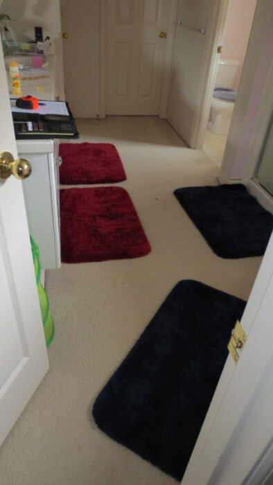 Originally this bathroom had carpet and vinyl flooring