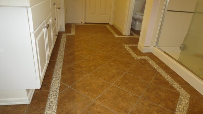 Tile Floor With Pebble Border Issaquah