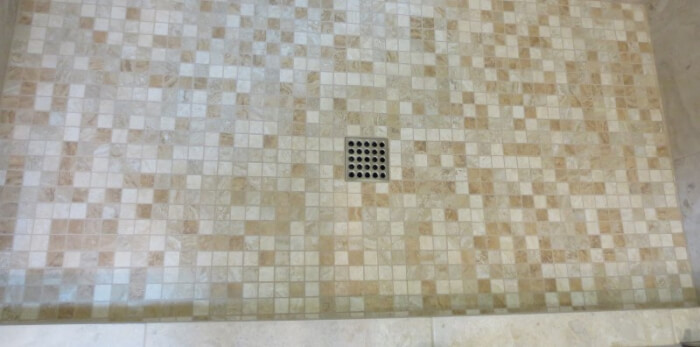Ebbe shower drain in brushed nickel finish for Sammamish shower