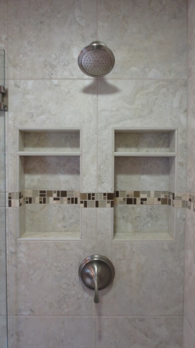 sammamish washington recessed tile shampoo niche with shelf
