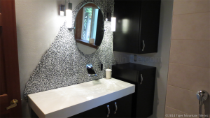 custom bathroom vanity, concrete